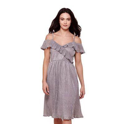 Grey metallic plisse bardot dress