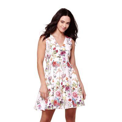 Multicoloured floral v-neck skater dress