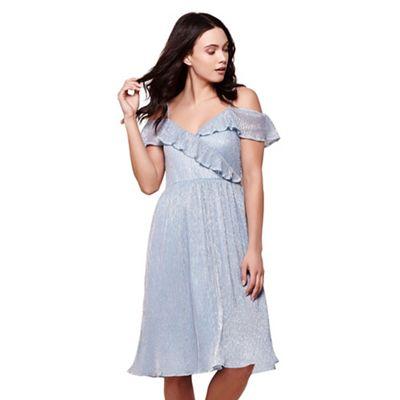 Blue metallic plisse bardot dress