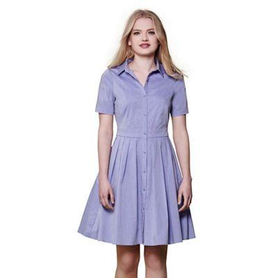Blue short sleeve shirt dress