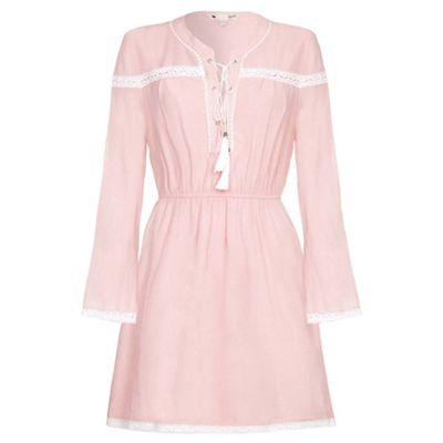 Pink tie collar boho dress