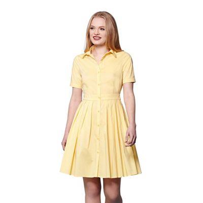 Yellow short sleeve shirt dress