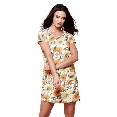Yellow summer floral print tunic dress