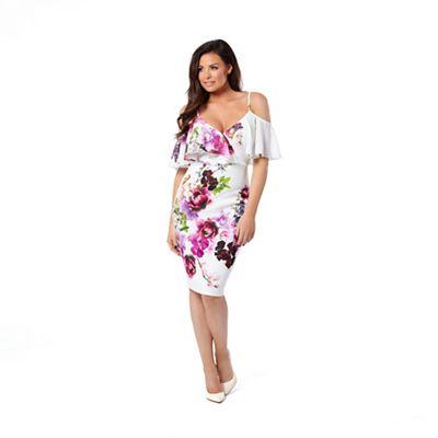 Multicolour 'Avril' floral cold shoulder bodycon dress