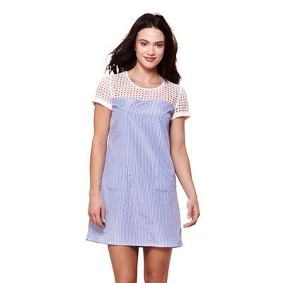Blue print & broderie anglaise dress