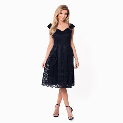 Black 'Jadey' lace bardot prom dress