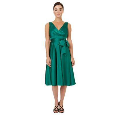 Dark green satin 'Belladonna' fit and flare dress