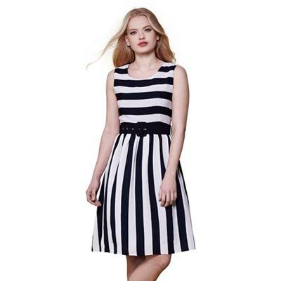 Multicoloured stripe sleeveless skater dress