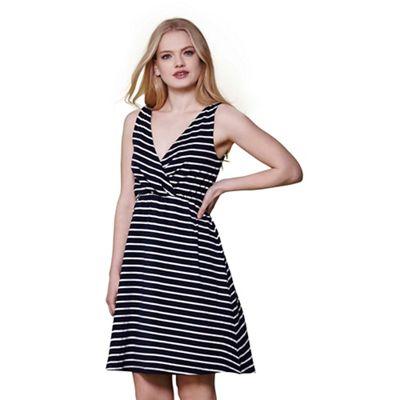 Navy stripe print wrap front dress