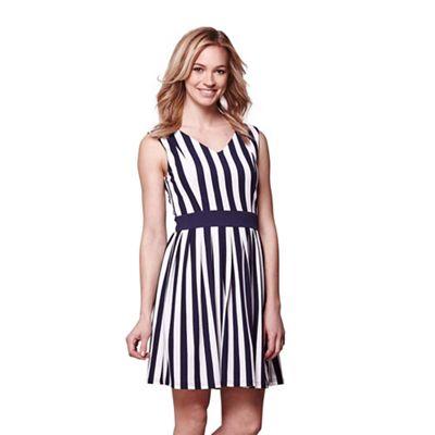 Multicoloured stripe tie waist skater dress