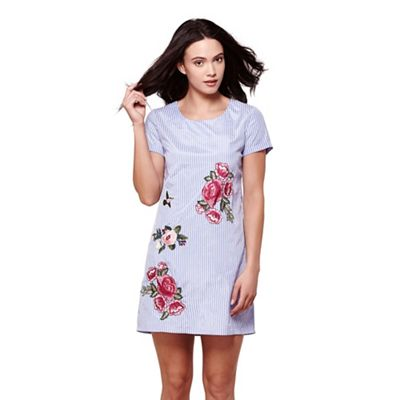 Blue floral embroidery stripe tunic dress
