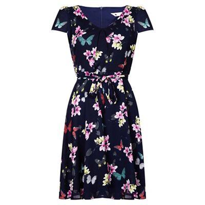 Navy butterfly print v-neck tea dress