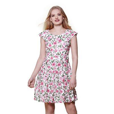 Multicoloured rose print skater dress