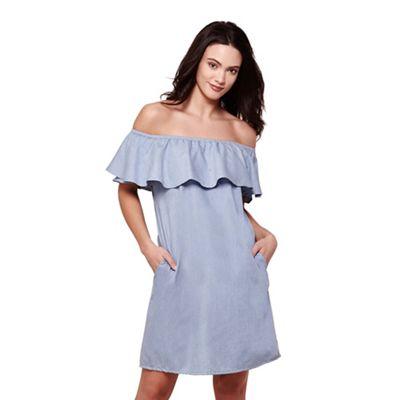 Blue denim bardot ruffle collar dress
