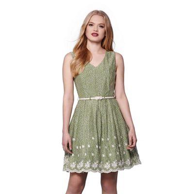 Green embroidered hem skater dress