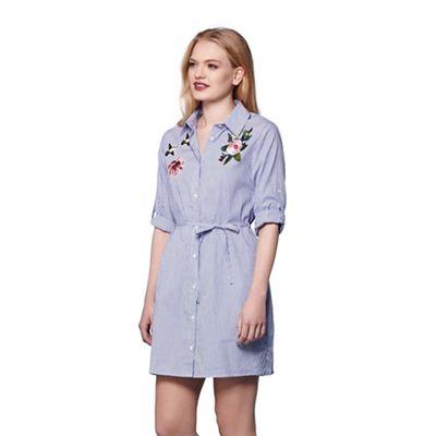 Blue floral embroidered stripe shirt dress