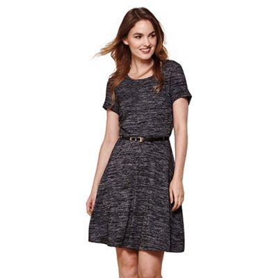 Black yumi belted jersey dress