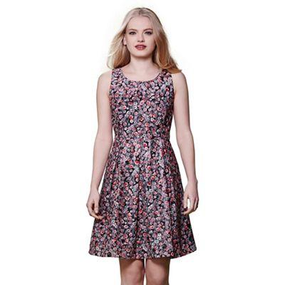 Multicoloured floral jacquard dress