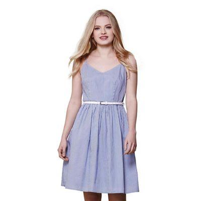 Blue stripe belted dress