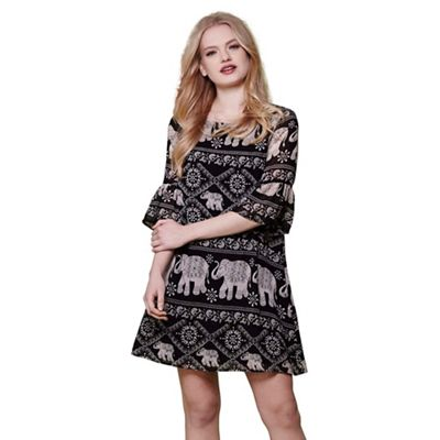 Black elephant print bell sleeve tunic dress