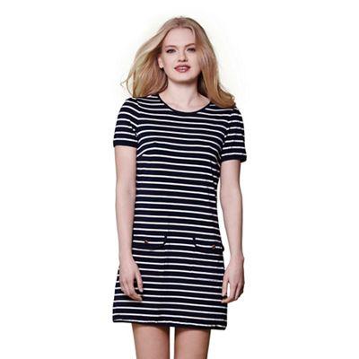 Navy stripe print casual dress