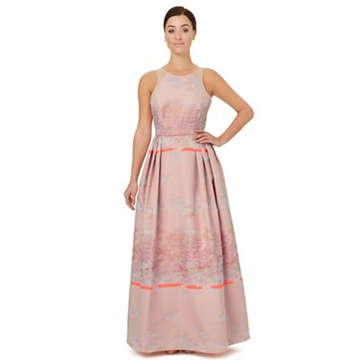Pale pink jacquard 'Bevan' evening dress