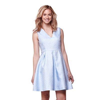 Blue jacquard occasion dress