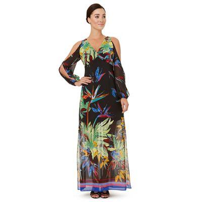 Multicoloured 'Rosey' slit sleeves dress