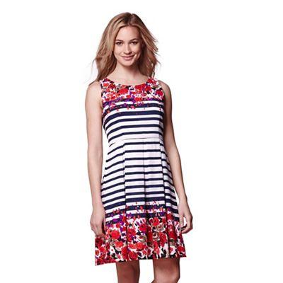 Multicoloured stripe & floral sleeveless dress