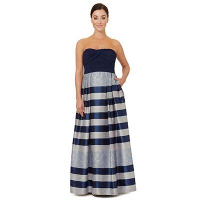 Dark blue jacquard 'Vince' strapless dress