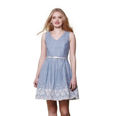 Blue embroidered hem skater dress