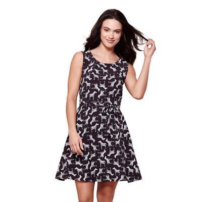Black zebra print dress