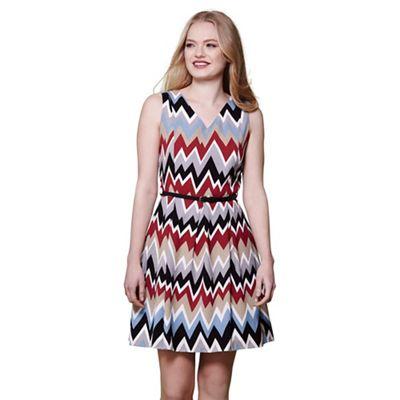 Multicoloured zigzag sleeveless skater dress