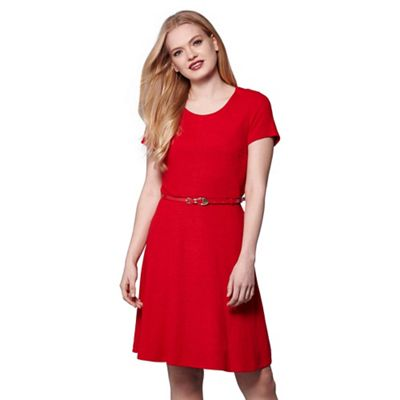Red yumi belted jersey dress