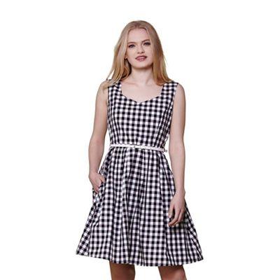 Black check belted dress