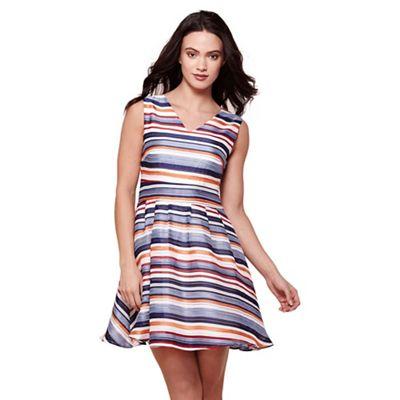 Multicoloured stripy v-neck skater dress