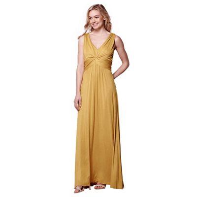 Mustard gathered occasion dress