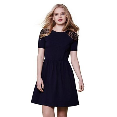 Navy Yumi lace panel jersey dress