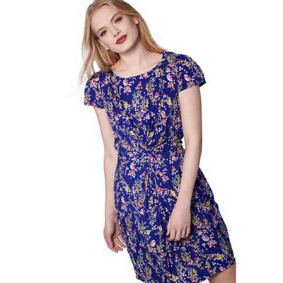 Blue eastern bird print dress