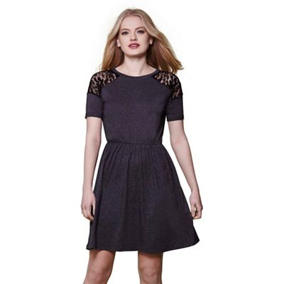 Grey yumi lace panel jersey dress