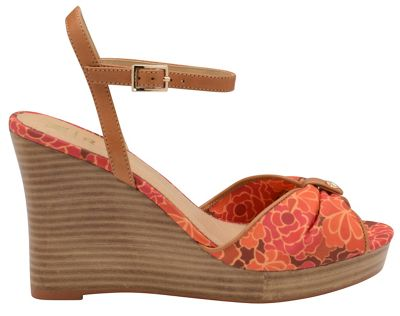 V&A Red 'Beatrice' ladies peep toe wedges