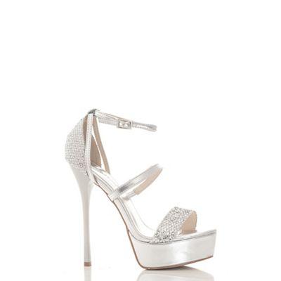 Silver multi strap shimmer platform sandals