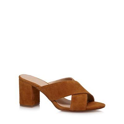Tan 'Jessie' high block heel mules