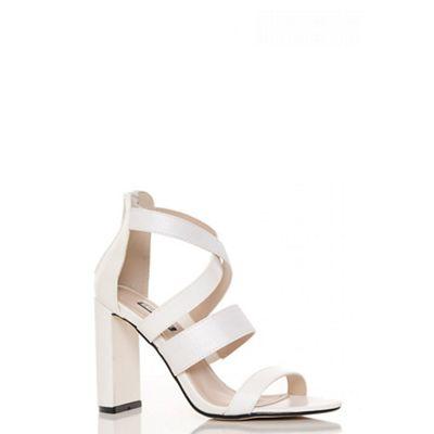 White patent multi strap block heel sandals