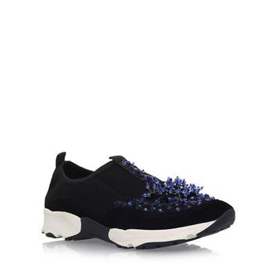 Black 'Lola' flat slip on sneakers