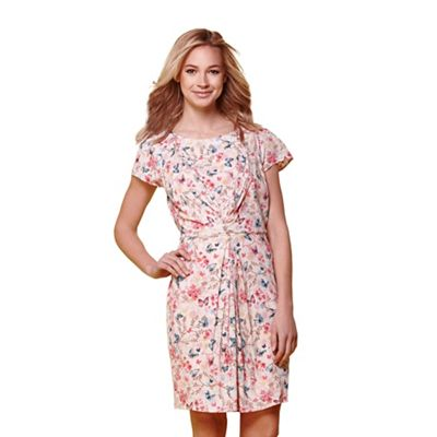 Ivory floral & butterfly print summer dress