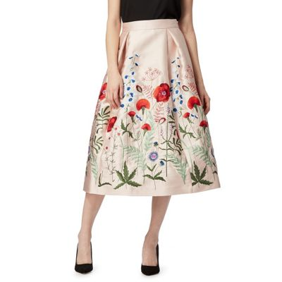 Light pink floral embroidered plus size skirt