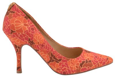 V&A Red Floral 'Helena' ladies court shoes