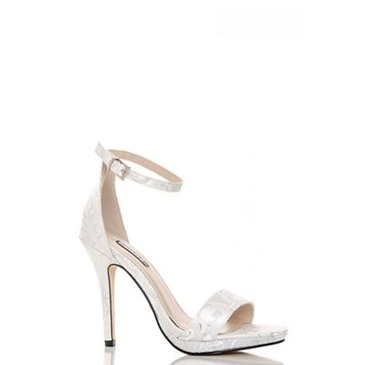 White jacquard barely there sandals