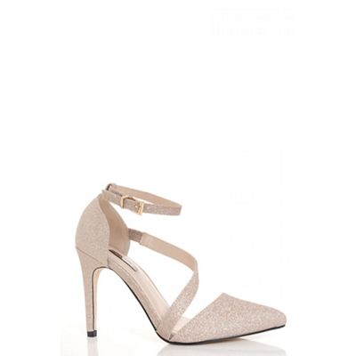 Champagne glitter strap pointed toe courts